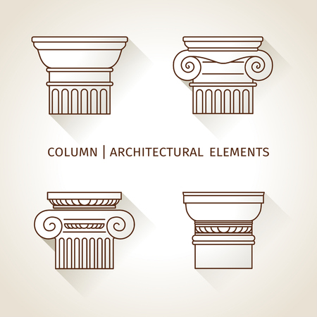 pillars: linear icons Columns. Flat with long shadows.  vector