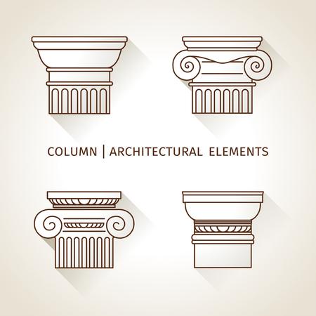 greek column: linear icons Columns. Flat with long shadows.  vector