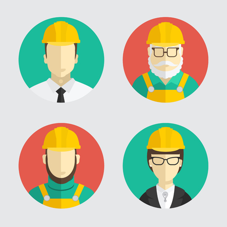 contractor: Building trades. Avatar. Flat design. Vector illustration.