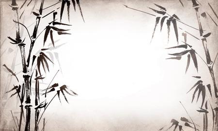 japones bambu: bambú pintado sobre grunge textura de fondo horizontal. Vector