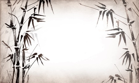 textural: bamboo painted on textural grunge  horizontal background. Vector