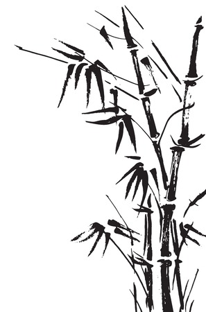 ink art: Bamboo branches isolated on the white background. Vector Illustration