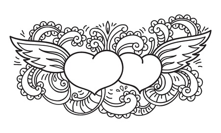 heart with wings: Doodle on Valentines Day. Isolated template. Vector illustration