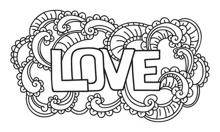 Doodle on Valentines Day. Isolated template. Vector illustration