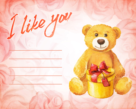 Greeting card. Teddy bear with a gift on a background of pink roses. Watercolor vector illustration. Vector