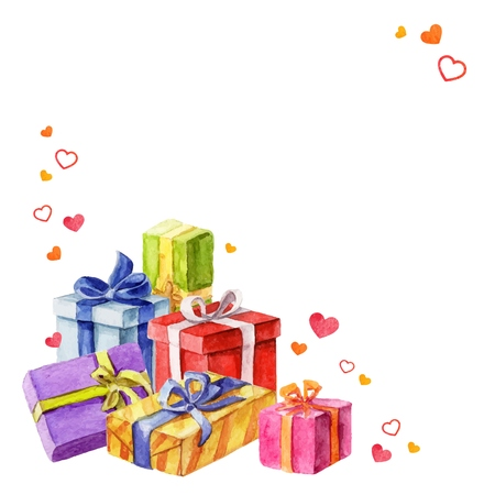 Gifts for Valentines Day. watercolor illustration. vector Vectores