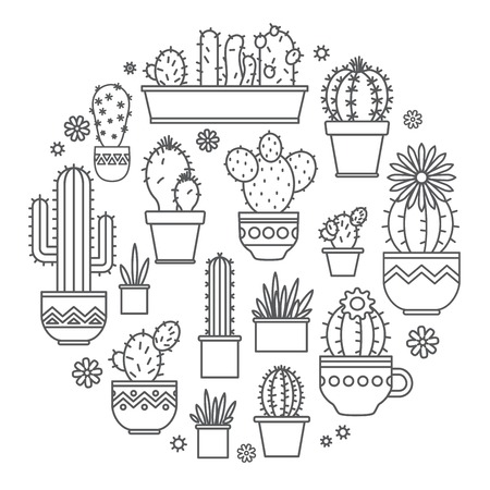 linear design, potted cactus. Vector
