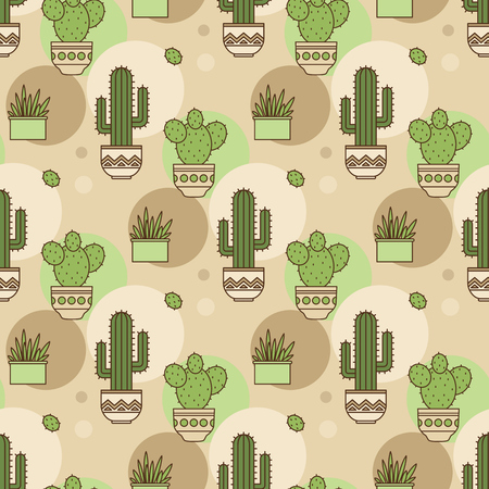 potted plant cactus: pattern of cacti. Linear illustration. vector Illustration