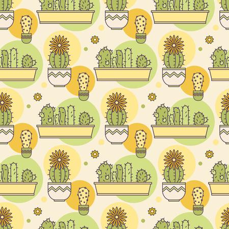 pattern of cacti. Linear illustration. vector Illustration