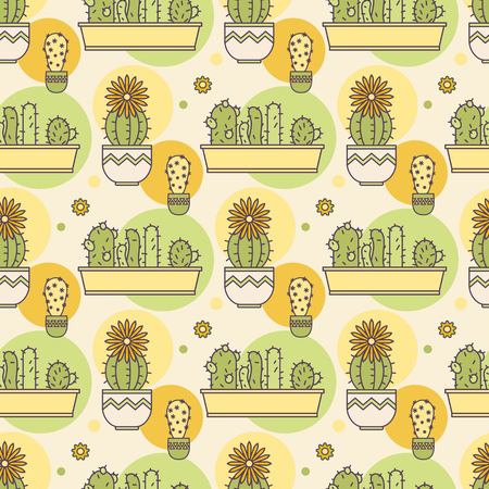 pattern of cacti. Linear illustration. vector Çizim
