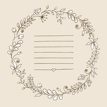 range fruit:  Flowers arranged in a shape of the wreath for wedding invitations and cards Illustration