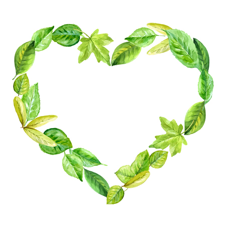 frame heart made of various leaves in watercolor. Hand-painted design elements.