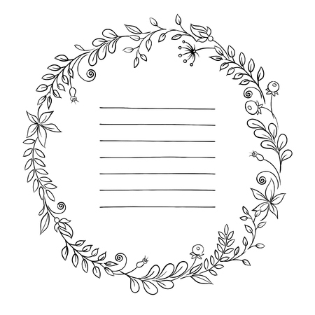 range fruit: Floral frame. retro flowers arranged in a shape of the wreath for wedding invitations and cards Illustration