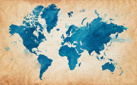 Geïllustreerde kaart van de wereld met een gestructureerde achtergrond en waterverf vlekken. Grunge achtergrond. vector Stock Illustratie