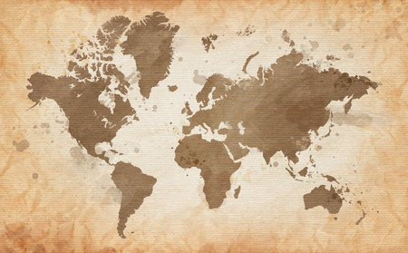old world map: Illustrated map of the world with a textured background and watercolor spots. Grunge background. vector