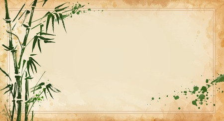 bamboo painted on textural grunge background. Vector illustration