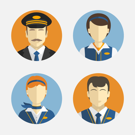 Vector icons depicting different Professions pilots and pretty flight attendant in uniform Çizim