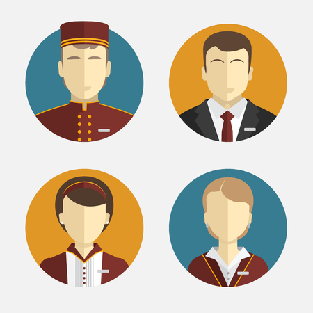 Avatars people. The hotel staff. Reception, curtains, maid manager. Vector