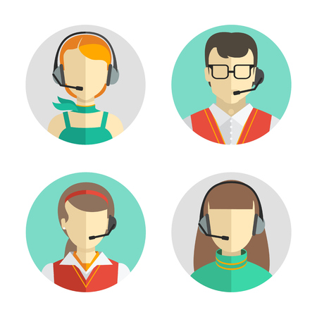 Vector icons set  Male and female call center avatars in a flat style with a headset, conceptual of communication. Çizim