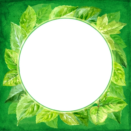 round frame made of various leaves in watercolor. Hand-painted design