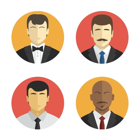 avatars of people in costumes of different nationalities. Flat design