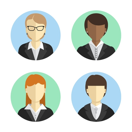 career coach: avatars business women in costumes of different nationalities. Flat design. Vector