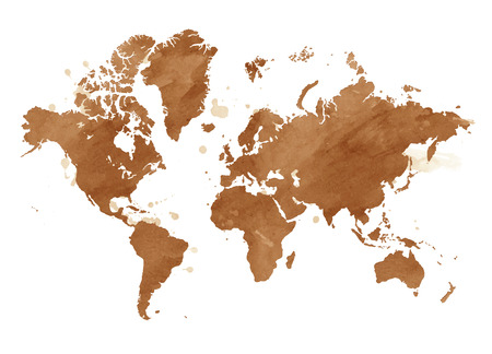 Vector watercolor map of the world with a isolated background.