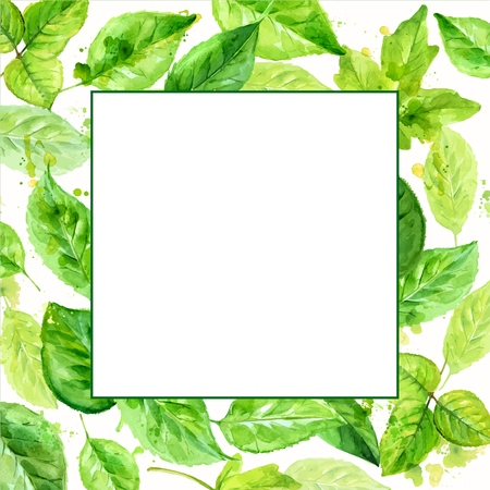 square frame made of various leaves in watercolor. Hand-painted design elements.