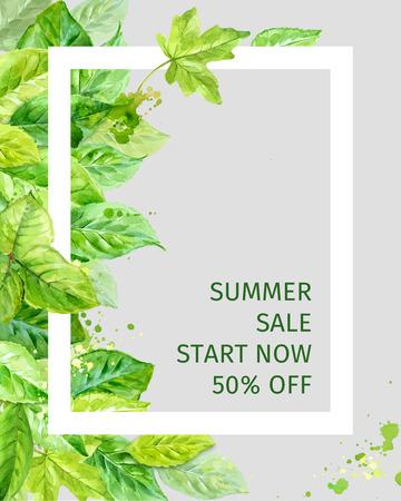 Illustratie van de zomer bladeren. voorjaar verkoop. aquarel hoekige samenstelling. Stock Illustratie