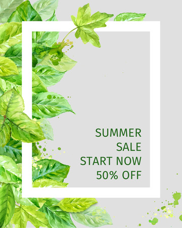 angular: Illustration of summer leaves. spring sale. watercolor angular composition.