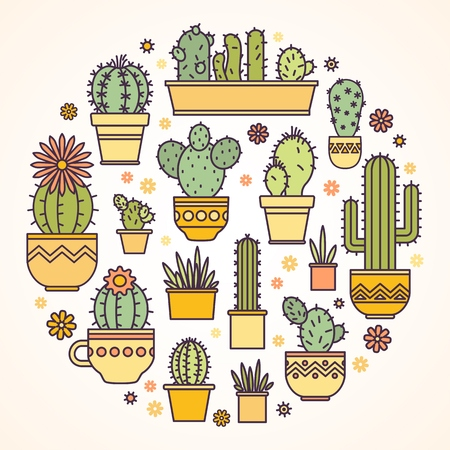 mexico cactus: linear design, potted cactus. elements of a corporate