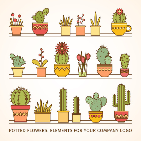 linear design, potted flowers. elements of a corporate. big vector set Illustration