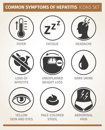 Vector infografía. síntomas de la hepatitis. conjunto de iconos