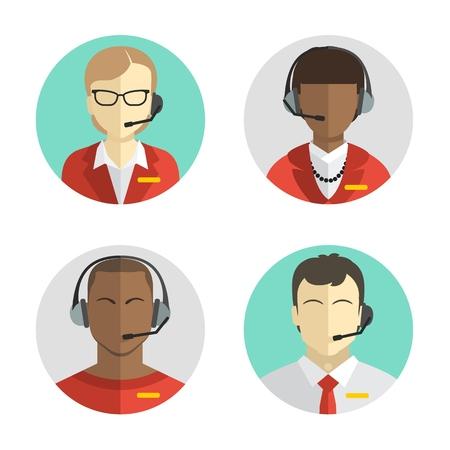 pictogrammen instellen Mannelijke en vrouwelijke call center avatars in een vlakke stijl met een headset, conceptuele van communicatie. Vector Stock Illustratie