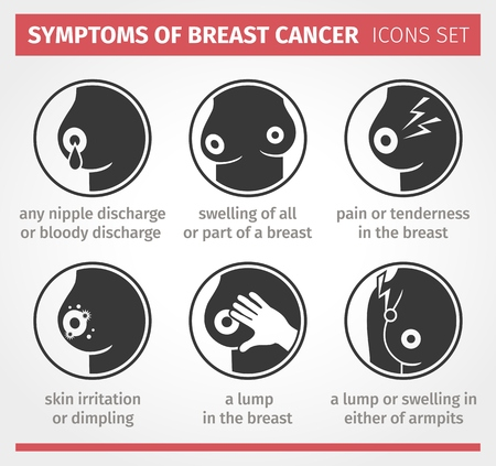 nude breasts: Symptoms of breast cancer.  Icon set info graphic Illustration