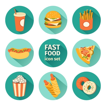 hot: flat design vector icon set fast food. Illustration