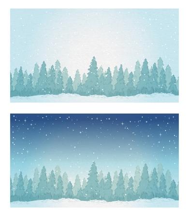 Vintage winter noontime forest landscape and night forest landscape.