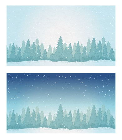 정오: Vintage winter noontime forest landscape and night forest landscape.