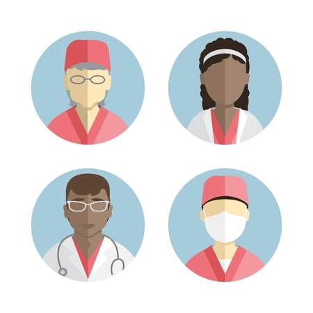 obstetrician: illustration of flat design. people icons collection. Department of Gynecology. Obstetrician and neonatologist Illustration