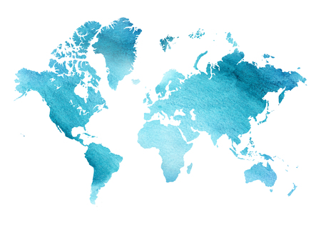 Illustrated blue watercolor map of the world with a isolated background.