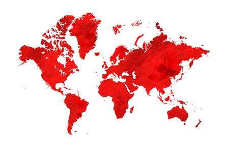 Illustrated map of the world with a isolated background. red watercolor