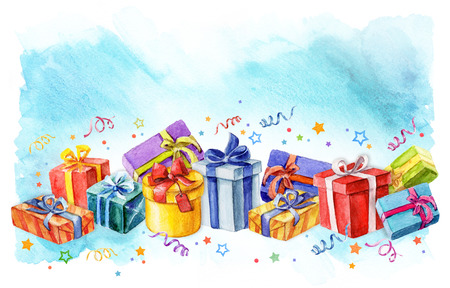 holiday presents gift boxes watercolor illustration. streamers and stars