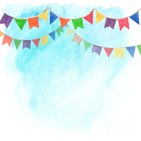 Watercolor illustration of banner flags on sky background. Decorations Festival and celebrations.