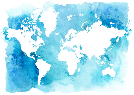 Vintage map of the world on a blue background. Watercolor illustration. Foto de archivo