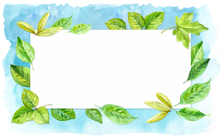 Horizontal frame made of various leaves in watercolor On a blue background. Hand-painted design elements.