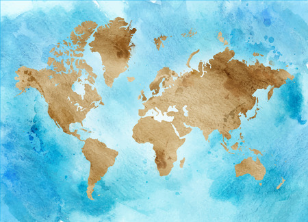 Vintage map of the world on a blue background. horizontal Watercolor illustration. Vettoriali