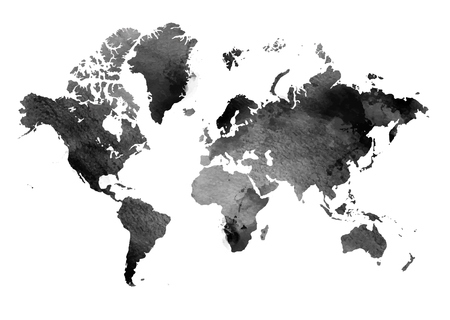 isolated object: Black and white vintage map of the world. Horizontal background. Isolated object