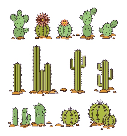 Vector illustration Cacti in the desert. elements of a corporate logo or Set of colored stickers