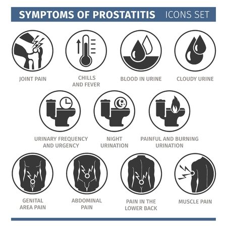 Symptoms of prostatitis. Infographic vector elements. medical icon Çizim