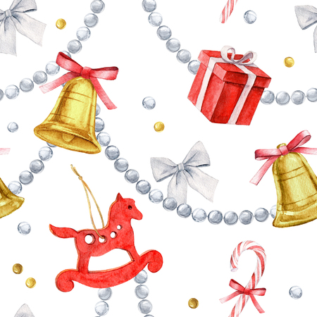 Watercolor seamless pattern. Merry Christmas and Happy New Year elements.
